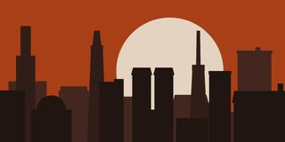 Illustrazione moderna di vettore di alba dell'orizzonte della città illustrazione di stock