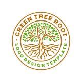 Illustrazione moderna di vettore del distintivo di logo del cerchio di radici dell'albero Fotografia Stock Libera da Diritti