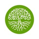 Illustrazione moderna di vettore del distintivo di logo del cerchio di radici dell'albero Fotografie Stock Libere da Diritti