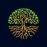 Illustrazione moderna di vettore del distintivo di logo del cerchio di radici dell'albero Immagini Stock Libere da Diritti