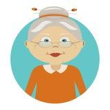 Illustrazione moderna di vettore della donna anziana con i vetri Icona della persona L'immagine è fuori portata del cerchio Icona Fotografie Stock