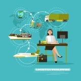 Illustrazione mondiale di vettore di concetto della compagnia di servizi di consegna Controllo dell'operatore logistico e traspor Fotografia Stock