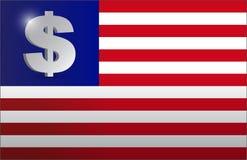 Illustrazione monetaria di concetto della bandiera degli Stati Uniti Immagini Stock Libere da Diritti