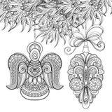 Illustrazione monocromatica di Buon Natale, motivi etnici illustrazione di stock