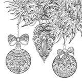 Illustrazione monocromatica di Buon Natale, motivi floreali royalty illustrazione gratis