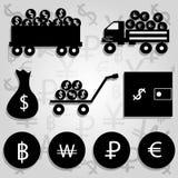 Illustrazione monocromatica di vettore delle icone finanziarie Immagine Stock