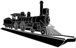 Illustrazione monocromatica di vettore di vecchio treno del vapore. Immagine Stock Libera da Diritti