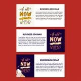 Illustrazione motivazionale di citazione della mano di tipografia moderna del disegno - se non ora poi quando Immagine Stock