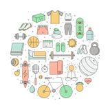 Illustrazione multicolore del profilo del cerchio di sport e di forma fisica Fotografia Stock