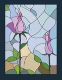 Illustrazione multicolore del vetro macchiato con il vettore rosa floreale di motivo Fotografie Stock