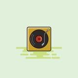 Illustrazione musicale di vettore dell'icona dell'attrezzatura del giocatore del vinile Fotografia Stock Libera da Diritti