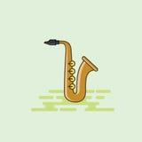 Illustrazione musicale di vettore dell'icona dell'attrezzatura del sassofono Fotografia Stock