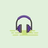 Illustrazione musicale di vettore dell'icona dell'attrezzatura del trasduttore auricolare Fotografie Stock Libere da Diritti