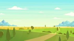 Illustrazione naturale di vettore del fumetto del paesaggio Immagine Stock