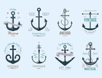 Illustrazione nautica di simbolo di ancoraggio del retro dell'ancora del distintivo di vettore del segno del mare elemento grafic illustrazione di stock