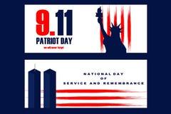Illustrazione nazionale di giorno di libertà con la statua di Libertyll e delle torri del World Trade Center royalty illustrazione gratis