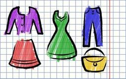 Illustrazione nello stile dell'abbigliamento del disegno dei bambini Fotografie Stock