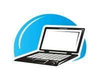 Illustrazione nera del computer portatile Fotografia Stock