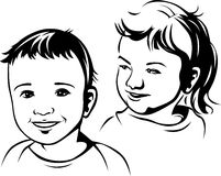 Illustrazione nera del profilo dei bambini Fotografia Stock