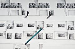 Illustrazione nera dell'inchiostro di un'altezza Immagini Stock Libere da Diritti