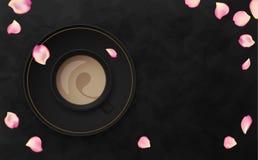 Illustrazione nera di lusso di vettore del fondo con la tazza di caffè Fotografia Stock Libera da Diritti