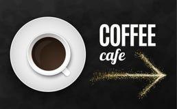 Illustrazione nera di lusso di vettore del fondo con la tazza di caffè Immagine Stock Libera da Diritti