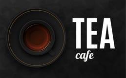 Illustrazione nera di lusso di vettore del fondo con la tazza di tè Immagine Stock