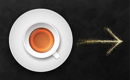 Illustrazione nera di lusso di vettore del fondo con la tazza di tè Fotografie Stock