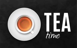 Illustrazione nera di lusso di vettore del fondo con la tazza di tè Fotografie Stock Libere da Diritti