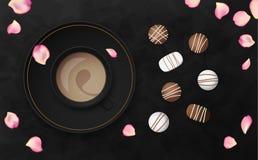 Illustrazione nera di lusso di vettore del fondo con la tazza ed il cioccolato di caffè Fotografia Stock Libera da Diritti