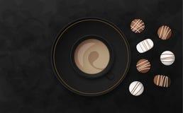 Illustrazione nera di lusso di vettore del fondo con la tazza ed il cioccolato di caffè Fotografia Stock