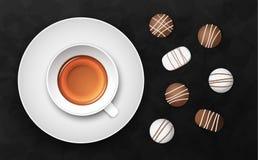 Illustrazione nera di lusso di vettore del fondo con la tazza ed il cioccolato di tè Fotografia Stock