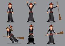 Illustrazione nera di vettore del personaggio dei cartoni animati della strega Immagine Stock