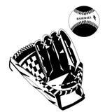 Illustrazione nera di vettore della palla e del guanto da baseball Illustrazione Vettoriale