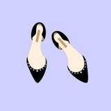 Illustrazione nera di vettore di stile della ragazza di acquisto di fascino di modo delle scarpe Fotografie Stock