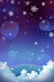 Illustrazione: Notte di nevicata! Fotografia Stock