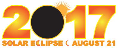 Illustrazione numerale di vettore del testo di eclissi solare 2017 Immagini Stock Libere da Diritti