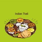 Illustrazione o clipart indiana di vettore di thali royalty illustrazione gratis