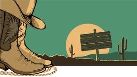 Illustrazione occidentale con le scarpe del cowboy Immagini Stock Libere da Diritti