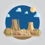 Illustrazione occidentale del deserto di progettazione piana Immagini Stock