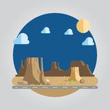 Illustrazione occidentale del deserto di progettazione piana illustrazione di stock