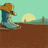 Illustrazione occidentale di immagine con il paesaggio del deserto Immagini Stock