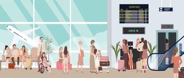 Illustrazione occupata di scena dell'aeroporto con l'attesa della gente e dell'aereo Immagini Stock Libere da Diritti