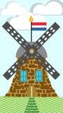 Illustrazione olandese del mulino a vento Fotografia Stock