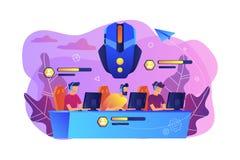 Illustrazione online con diversi giocatori di vettore di concetto dell'arena di battaglia illustrazione vettoriale