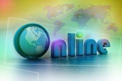 Illustrazione online con il globo. Fotografia Stock