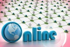 Illustrazione online con il globo. Immagini Stock Libere da Diritti