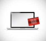 Illustrazione online dell'insegna del segno di frode del computer portatile Fotografia Stock