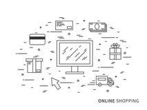 Illustrazione online di acquisto di vettore lineare piano Fotografie Stock