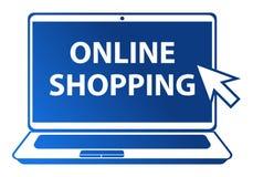 Illustrazione online di acquisto su fondo bianco Fotografia Stock Libera da Diritti